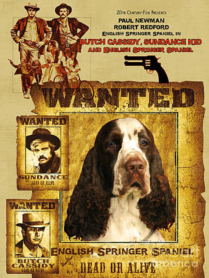 Painting - English Springer Spaniel Art Canvas Print - Butch Cassidy And The Sundance Kid Movie Poster by Sandra Sij