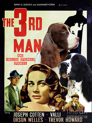 Painting - English Springer Spaniel Art Canvas Print - The Third Man Movie Poster by Sandra Sij
