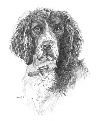 Drawing - English Springer Spaniel Pencil Portrait by Mike Theuer