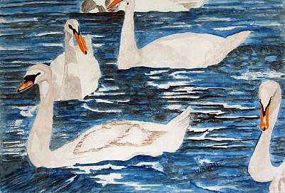 English Swan In The Queen's Garden Original by Larry Wright