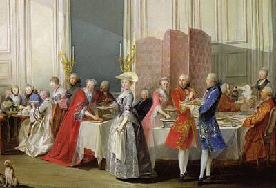 English Tea In The Salon Des Quatre Glaces At The House Of The Prince De Conti 1717-76 Palais Du Art Print
