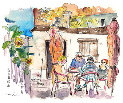 Championship Drawing - English Tourists In Barca De Alva In Portugal by Miki De Goodaboom