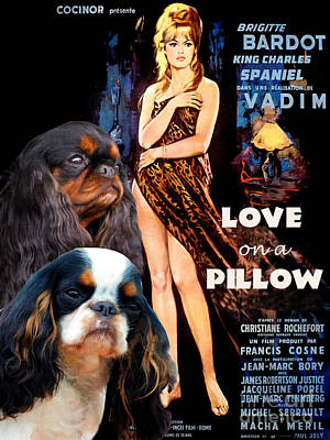 Painting - English Toy Spaniel Art - Love On A Pillow Movie Poster by Sandra Sij