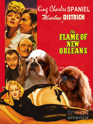 Painting - English Toy Spaniel Art - The Flame Of New Orleans Movie Poster  by Sandra Sij