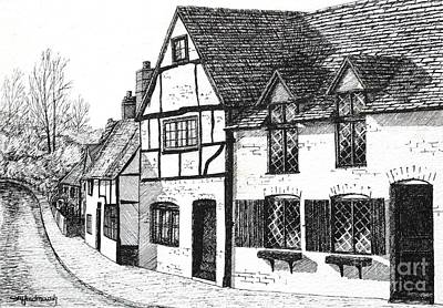 Timber-framed Drawing - English Village by Shirley Miller