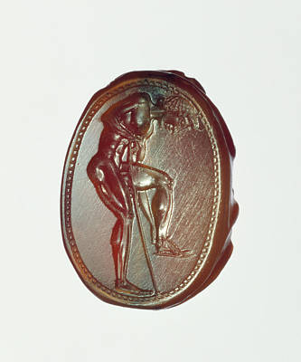 Carnelian Drawing - Engraved Scarab Attributed To Epimenes, Greek by Litz Collection