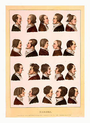 Engraving 1811, Profile Portraits Of 20 Men Art Print by English School