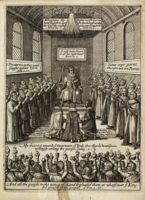 Engraving Of A King Enthroned Print by British Library