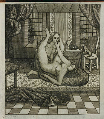 Sexual Intercourse Photograph - Engraving Of A Man And Woman Having Sex. by British Library