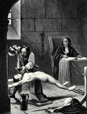 Torture Wall Art - Photograph - Engraving Of A Suspected Witch Being Tortured by Science Photo Library