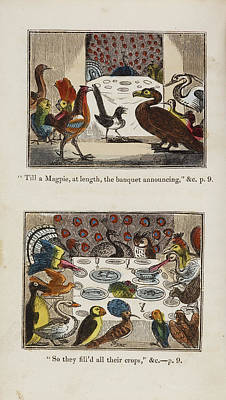 Engraving Of Birds In A Gathering Art Print by British Library