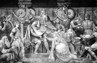 Engraving Of Medieval English Feast Art Print