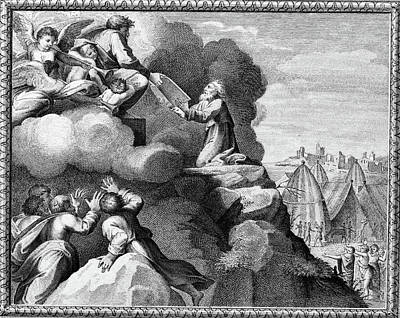 Engraving Of Moses Receiving The Ten Art Print