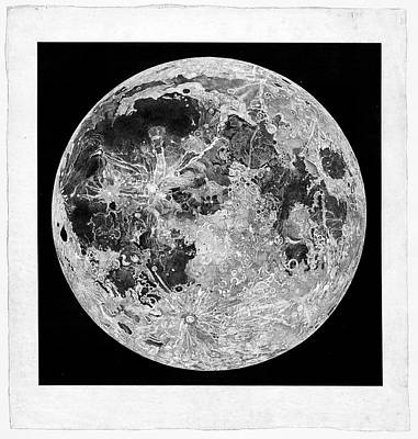 Cartography Photograph - Engraving Of The Moon by Museum Of The History Of Science/oxford University Images