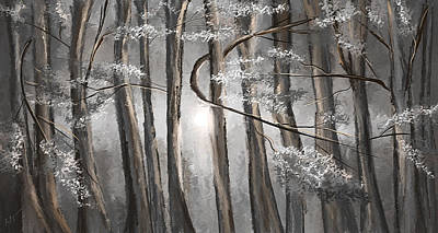 Moonlight Painting - Enigmatic Woods- Shades Of Gray Art by Lourry Legarde