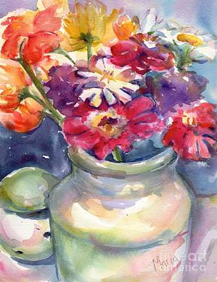Zinnia Painting - Enjoy Simply by Maria's Watercolor