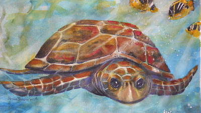 Sea Turlte Painting - Enjoy The Current by Pamela Shearer