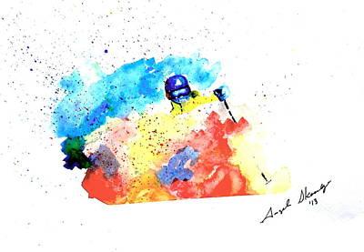 Powder Skiing Painting - Enjoy The Powder by Angee Skoubye