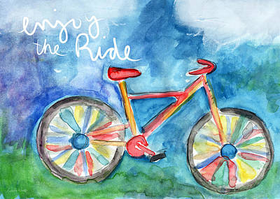 Enjoy The Ride- Colorful Bike Painting Print by Linda Woods