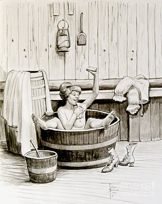 Bawdy Lady Bath - 1890's Art Print