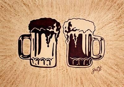 Beer Paintings - Enjoying Beer by Georgeta  Blanaru