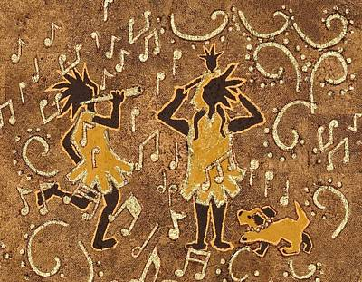 Kokopelli Painting - Enjoying The Music by Katherine Young-Beck