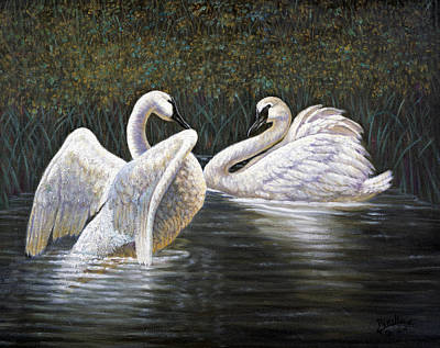 Spring Scenes Painting - Enjoying The Trumpeter Swans by Gregory Perillo