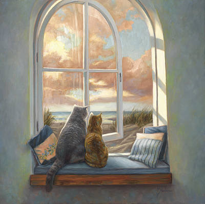 Cat Sunset Painting - Enjoying The View by Lucie Bilodeau