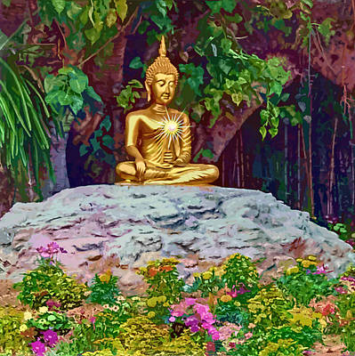 Digital Art - Enlightened Buddha by Donna Proctor