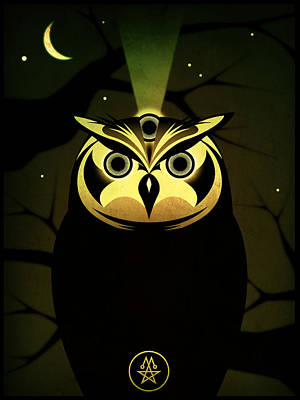 Enlightened Owl Art Print by Milton Thompson