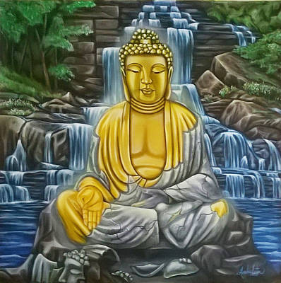 Buddah Painting - Enlightened by Ruben Archuleta - Art Gallery