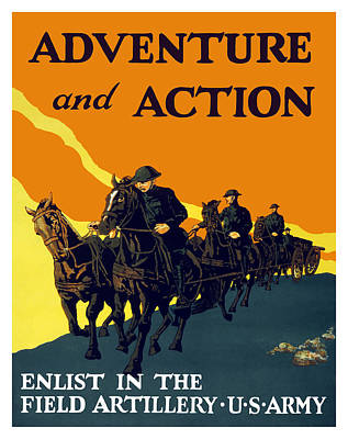 Enlist In The Field Artillery Art Print by War Is Hell Store