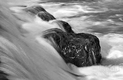 Photograph - Eno River Rocks Black And White by Benanne Stiens