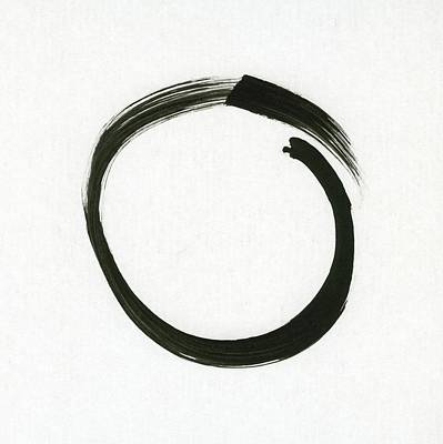 Contemporary Symbolism Painting - Enso #1 - Zen Circle Minimalistic Black And White by Marianna Mills