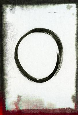 Contemporary Symbolism Painting - Enso #2 - Zen Circle Abstract Black And Red by Marianna Mills