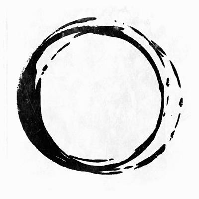 Modern Poster Painting - Enso No. 107 Black On White by Julie Niemela