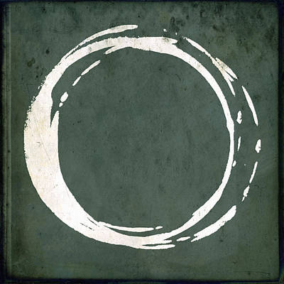 Modern Poster Painting - Enso No. 107 Green by Julie Niemela