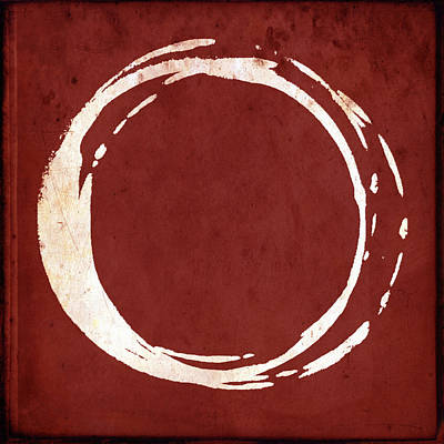 Red Abstract Painting - Enso No. 107 Red by Julie Niemela