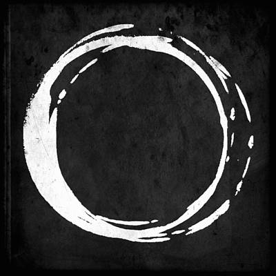 Enso No. 107 White On Black Art Print by Julie Niemela