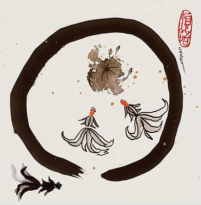 Painting - Enso Sudden Enlightenment Two by Casey Shannon