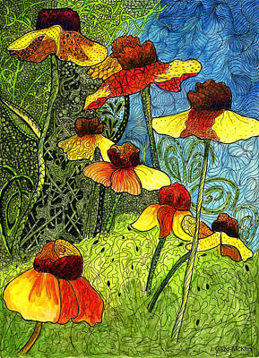 Bright Colours Drawing - Entangled Garden by Jo-Anne Gazo-McKim