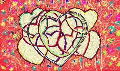 Painting - Entangled Hearts by Karunita Kapoor