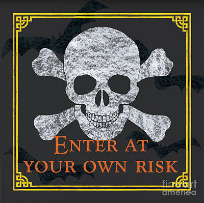 Skull Painting - Enter At Your Own Risk by Debbie DeWitt