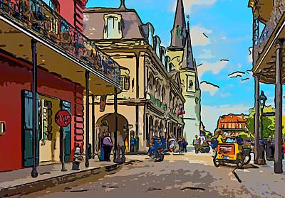 Cathedral Photograph - Entering Jackson Square Illustration by Steve Harrington