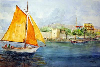 Entering The Port - Foca Izmir Art Print by Faruk Koksal