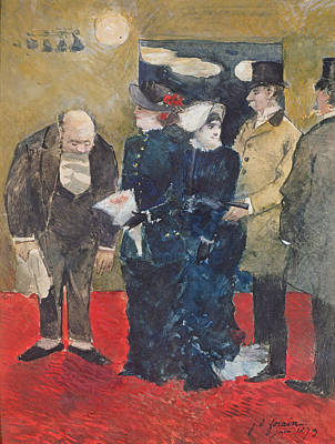 Impressionist Photograph - Entering The Restaurant, 1879 Oil On Canvas by Jean Louis Forain