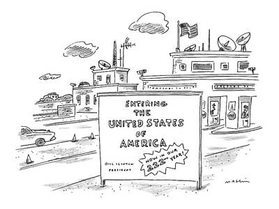 Shed Drawing - Entering The United States Of America   Now by Michael Maslin