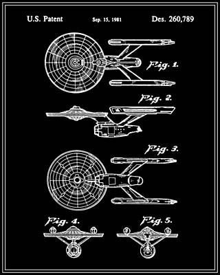 Enterprise Toy Figure Patent - Black Art Print