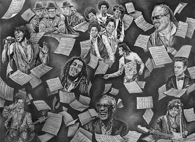 Jackson 5 Drawing - Entertainment Greats by Kenneth Harris II