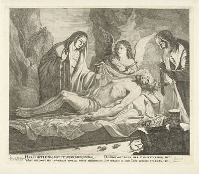 Candle Lit Drawing - Entombment Of Christ, Guillaume Duvivier 17e Eeuw by Guillaume Duvivier